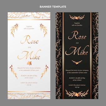 Realistyczne luksusowe złote banery ślubne w pionie