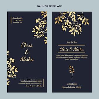 Realistyczne luksusowe złote pionowe banery ślubne