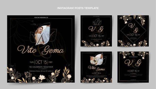 Realistyczne luksusowe złote posty ślubne na instagramie