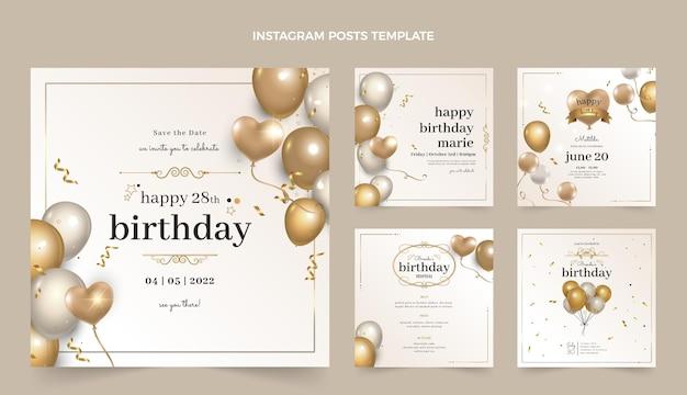Realistyczne luksusowe złote posty urodzinowe na instagramie