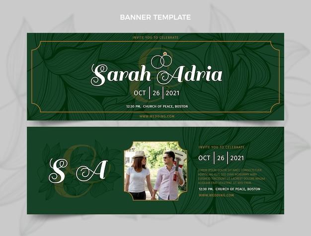 Realistyczne luksusowe złote weselne poziome banery