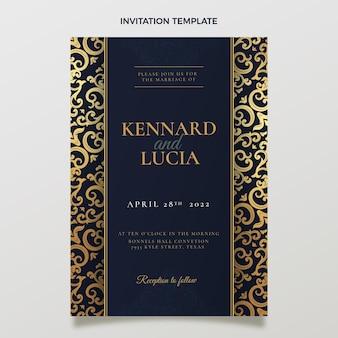 Realistyczne luksusowe złote zaproszenie na ślub