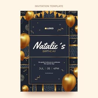 Realistyczne luksusowe złote zaproszenie na urodziny