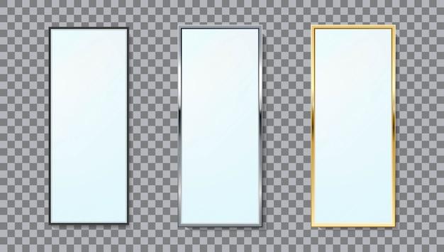 Realistyczne lustra prostokątna rama zestaw różnych kolorów na białym tle.