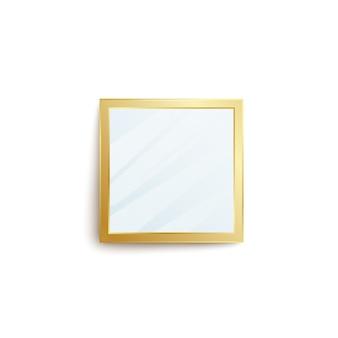 Realistyczne lustro kwadratowe ze złotą ramą i pustą powierzchnią odbicia na białym tle. element dekoracji wnętrz z błyszczącą złotą obwódką - ilustracja