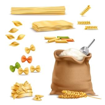 Realistyczne makarony pszenne kłoski mąka