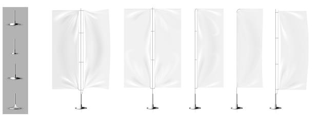Realistyczne makiety flag trójwymiarowych transparentów