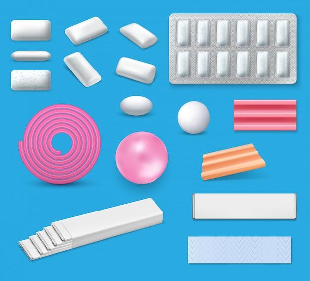 Realistyczne makiety gumy do żucia i gumy do żucia