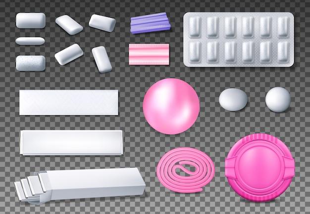 Realistyczne makiety opakowań do żucia lub gumy balonowej