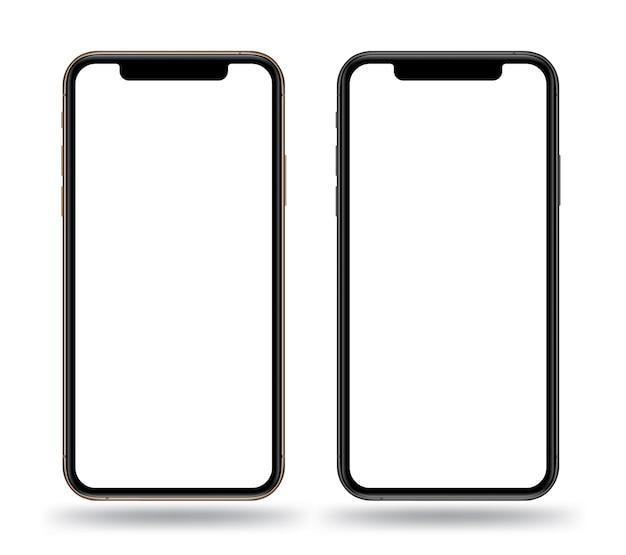 Realistyczne makiety smartfonów w kolorze złotym i czarnym.
