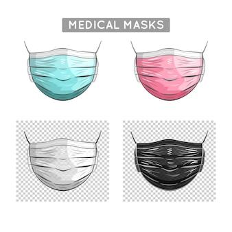 Realistyczne medyczne maski na twarz w stylu kreskówki: niebieski, różowy, biały, czarny. ilustracja.