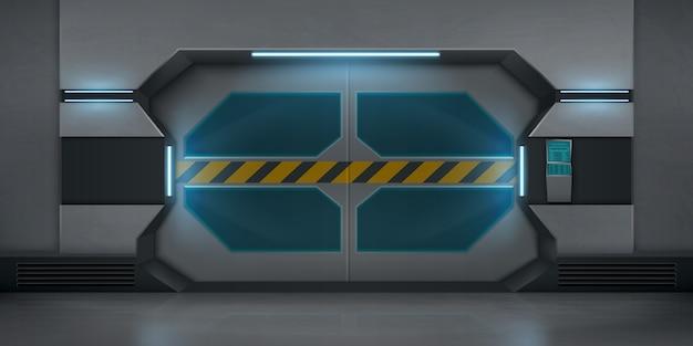 Realistyczne metalowe drzwi przesuwne z taśmą ostrzegawczą w paski