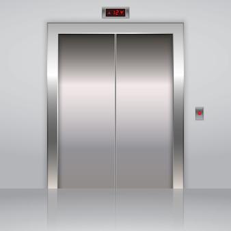 Realistyczne metalowe drzwi windy biurowej