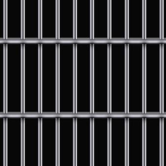 Realistyczne metalowe kratki więzienne. żelazna cela więzienna.