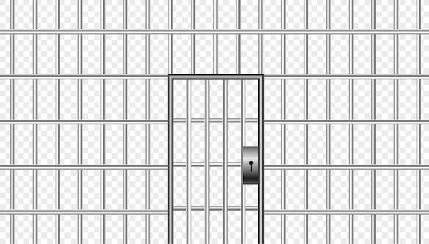 Realistyczne metalowe kraty więzienne z drzwiami więzienia