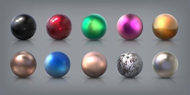 Realistyczne metalowe kulki. 3d aluminium, stal, brąz, srebrne i złote kule z refleksami, kulką łożyskową i kulami teksturowymi. grafika wektorowa okrągłe kształty kamień z błyszczącymi odblaskami