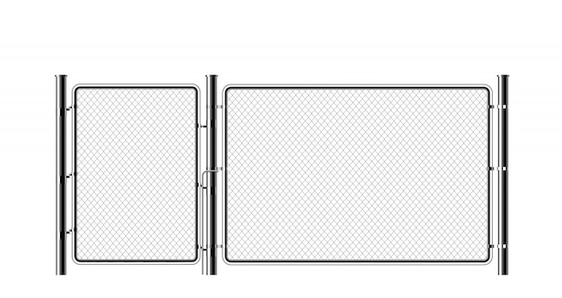 Realistyczne metalowe ogrodzenie ogniwa łańcucha.