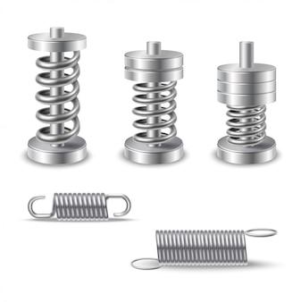 Realistyczne metalowe sprężyny