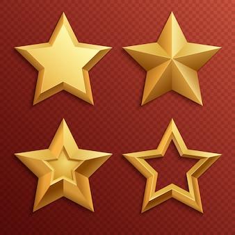 Realistyczne metalowe złote gwiazdy na białym tle ocena i wakacje wektor zestaw dekoracji. ilustracja gwiazdkowa dekoracja dla nagrody oceny