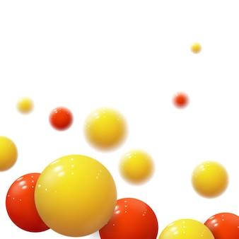 Realistyczne miękkie kule. plastikowe bąbelki. błyszczące kulki. 3d geometryczne kształty, abstrakcyjne tło. nowoczesna koncepcja okładki lub raportu rocznego. dynamiczny baner lub tapeta z kulkami. szablon.