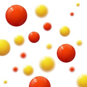 Realistyczne miękkie kule. plastikowe bąbelki. błyszczące kulki. geometryczne kształty 3d.