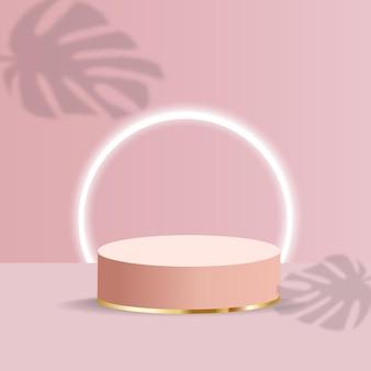 Realistyczne minimalne podium o geometrycznych kształtach. podium cylindra z cieniem liści