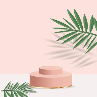 Realistyczne minimalne podium o geometrycznych kształtach. podium cylindra z liśćmi