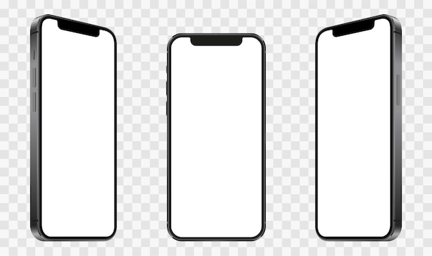Realistyczne modele smartfonów z przezroczystymi ekranami