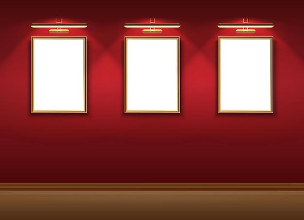 Realistyczne muzeum wektorowe z makietowymi ramkami do zdjęć na zawieszeniu czerwonej ściany.