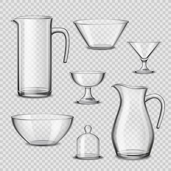 Realistyczne naczynia szklane naczynia przezroczyste tło