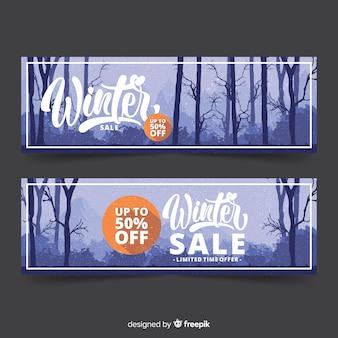 Realistyczne nagie drzewa zima sprzedaż transparent