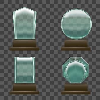 Realistyczne nagrody szklane lub kryształowe ustawione na przezroczystym.