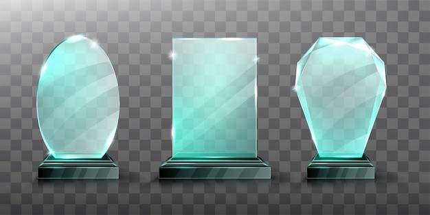 Realistyczne nagrodzenie szklanego trofeum lub akrylowego zwycięzcy