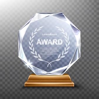 Realistyczne nagrodzenie szklanego trofeum lub zwycięzcy akrylu