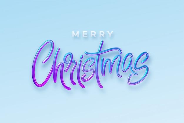 Realistyczne napis 3d wesołych świąt na tle. hologram błyszczący niebieski i różowy napis.