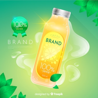 Realistyczne naturalne tło reklamy soku