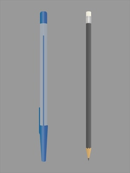 Realistyczne niebieskie pióro. czarny ołówek z gumką na końcu.