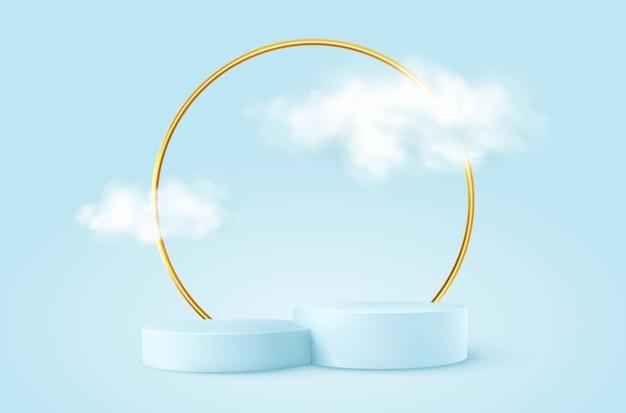 Realistyczne niebieskie podium produktu ze złotym okrągłym łukiem i chmurami