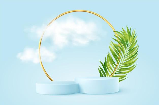 Realistyczne niebieskie podium produktu ze złotym okrągłym łukiem, liściem plm i chmurami