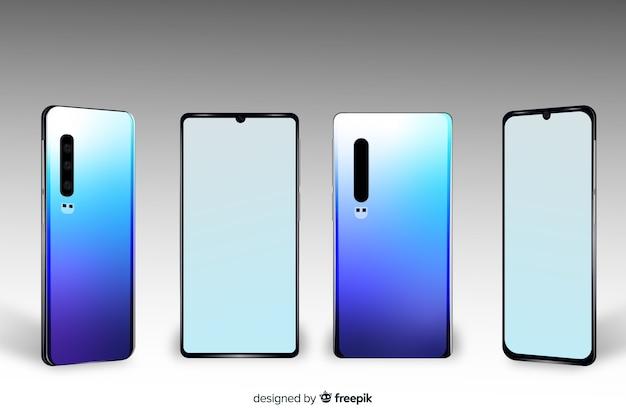 Realistyczne niebieskie widoki różnych smartfonów