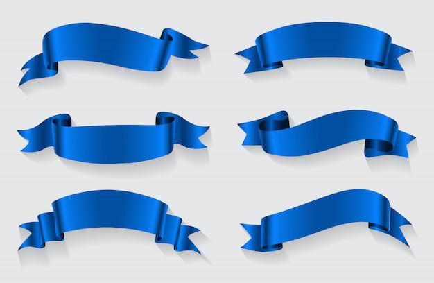 Realistyczne niebieskie wstążki