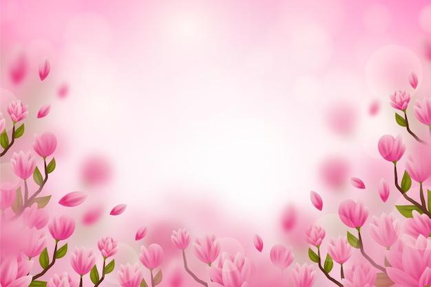 Realistyczne niewyraźne tło kwiatowy