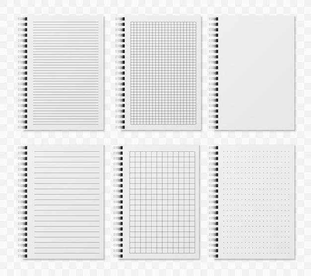 Realistyczne notobooki linii. szkicowany pusty pamiętnik z kropkami i liniami do pisania i paitingowania szablonów