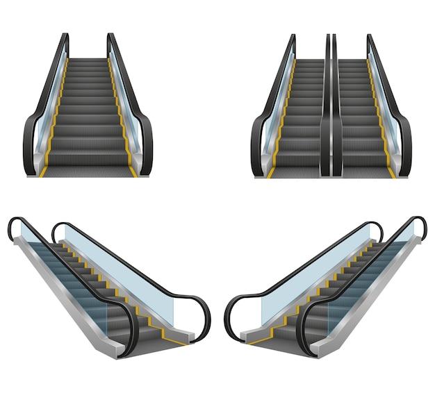 Realistyczne nowoczesne schody ruchome ilustracja na białym tle