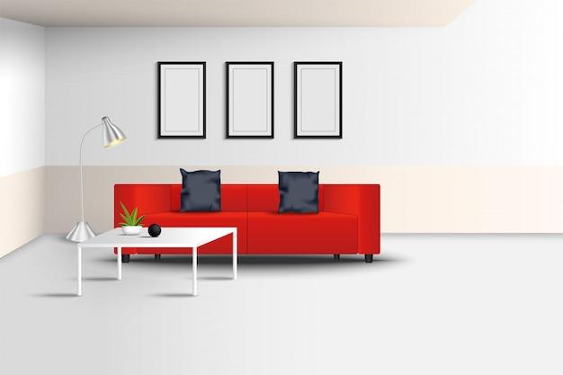 Realistyczne nowoczesne wnętrze salonu i dekoracyjne meble., czerwona luksusowa kanapa, ramka na zdjęcia, wazon ceramiczny w pustym pokoju.