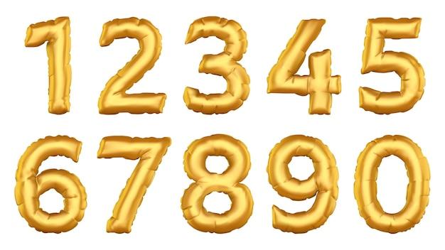Realistyczne numery balonów. figurki balonu helowego, świętują urodziny, wesele, zestaw ikon ilustracji balonów foliowych. balon w ilości helu, kolekcja metalicznych dekoracji