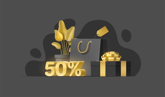 Realistyczne obiekty 3d na sprzedaż baner, ulotka, media społecznościowe. ilustracja z rośliną, torba na zakupy.