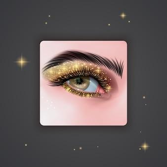 Realistyczne oczy z jasnymi cieniami do powiek w złotym kolorze z błyszczącą teksturą