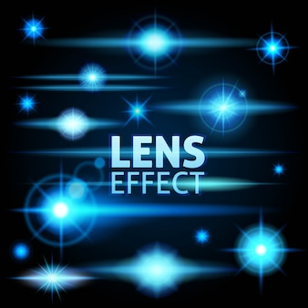 Realistyczne odblaski i promienie jasny błysk niebieskiego światła
