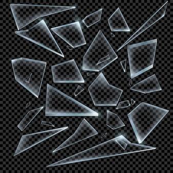 Realistyczne odłamki potłuczonego szkła na przezroczystym tle ostry kawałek. ilustracja.